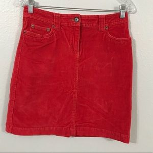 Boden Skirt Size 10 Ruby Red Corduroy Straight Pencil Pocket Career Casual